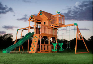 Image Is Loading Outdoor Wooden Swing Set Toy Playhouse PlaySet With