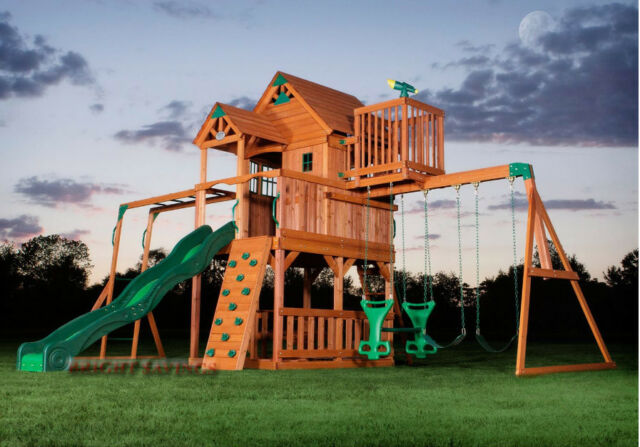 Outdoor Wooden Swing Set Toy Playhouse Playset With Slide Ladders