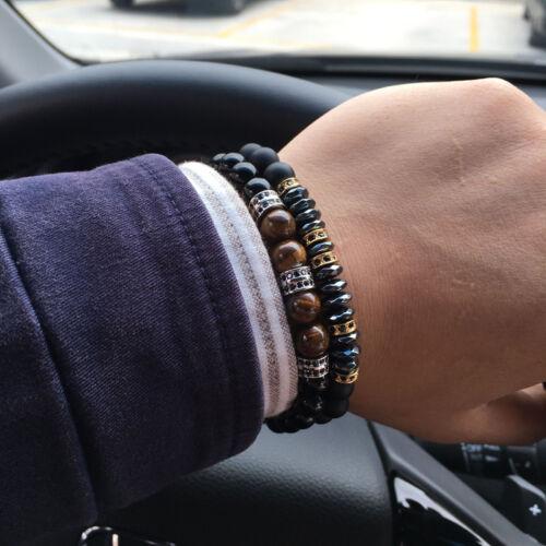 Homme Bracelet 8 mm Pierre Perles avec Hématite Perles Bracelet Breloque