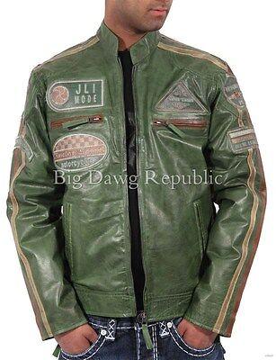 Aviatrix Mens Boys JLI Mode Real Leather Bikers Jacket Vintage Urban Retro Look