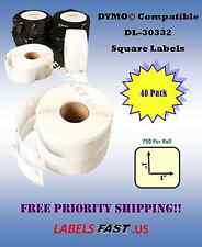 40 Rolls Dymo® Compatible Multipurpose Labels - 30332 - 750 Labels Per Roll