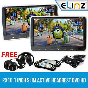 """ELINZ Headrest 2x9"""" HD Monitor Pillow 2 DVD Player Game"""