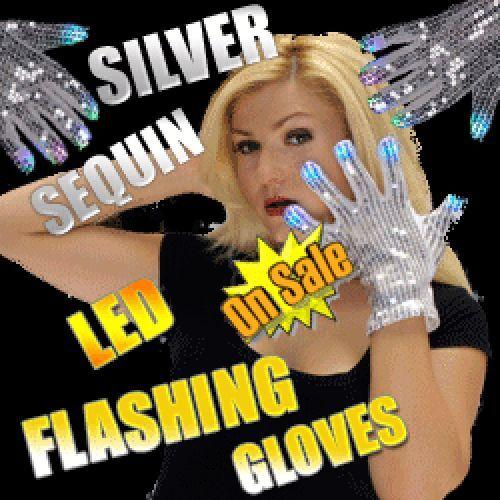 1 Pr Flashing SILVER SEQUINED GLOVES MJ Michael Jackson Sequin Dance Costume