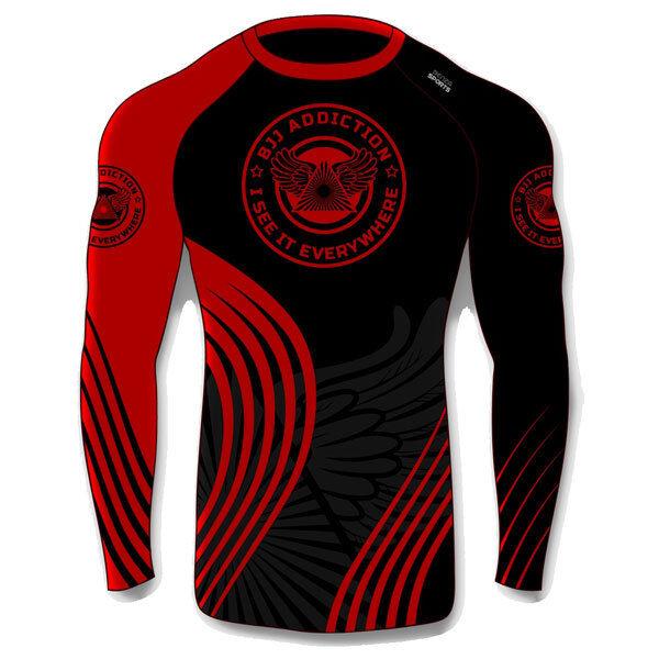 BRAZILIAN JIU-JITSU RASH GUARD BJJ Addiction Rash Guard Long Sleeves RED BLK