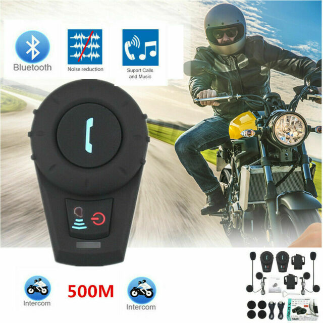 500M BT FM Radio Intercom Bluetooth Motorcycle Helmet Stereo Headset Interphone
