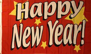 Fahne Flagge Happy New Year rot Neujahr 90 x 150 cm