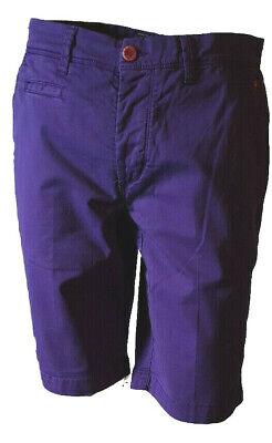 Diligente Bermuda Pantaloncino Shorts Pantalone Corto Uomo Casual Chino Jaggy Viola Tg.46
