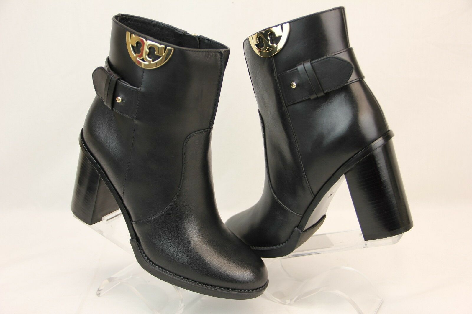 NIB TORY BURCH SIDNEY schwarz LEATHER Gold HALF REVA STRAP ANKLE Stiefel 8.5