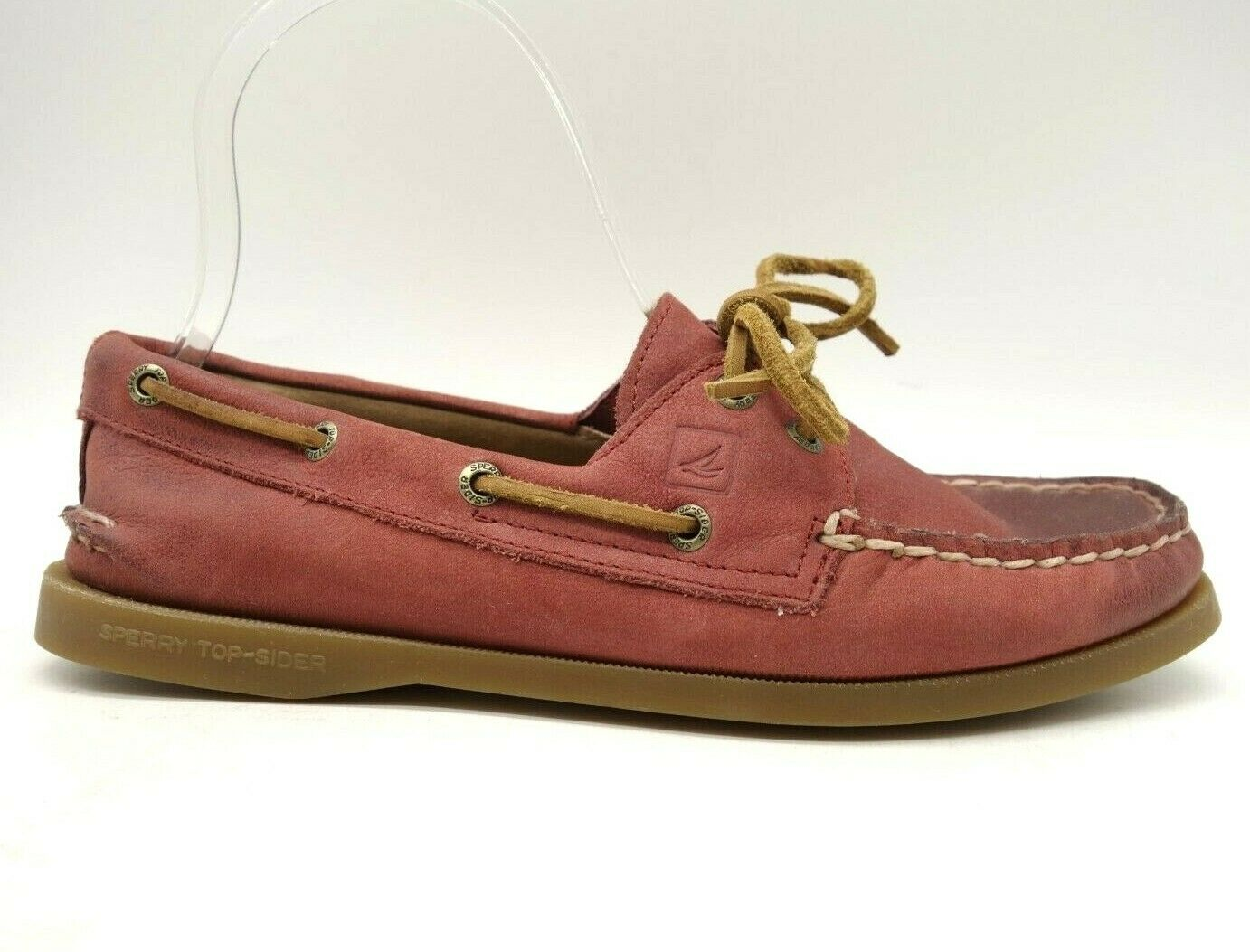 Sperry Top Sider Maroon Leather Casual Deck Boat Loafers Shoes Women's 7.5 M