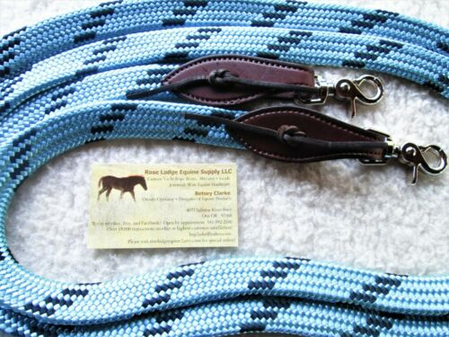 """9/' Turquoise FLAT Braid Yacht Rope Loop Reins w Slobber Straps Clips 7//8/"""" Soft"""