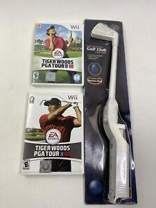 Lot of 2 Wii Tiger Woods PGA Tour 10, Tiger Woods PGA Tour 08 + Sport Golf Club
