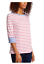 Nautica-Women-039-s-3-4-Cuffed-Sleeve-Chambray-Casual-Top-Large-Coral-White-Stripe thumbnail 2