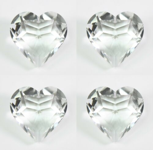 """4 Small 1.75/"""" Inch Clear Heart Shaped Crystals Prism Hanging Room Decoration"""