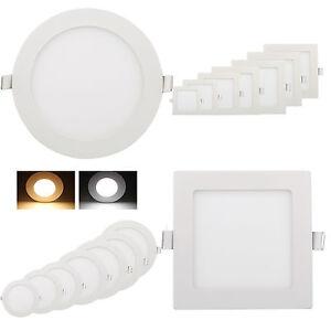 Ultraslim Panneau Panel LED Encastré Plafond Lampe Lumineux Ronde Carré 3W-18W
