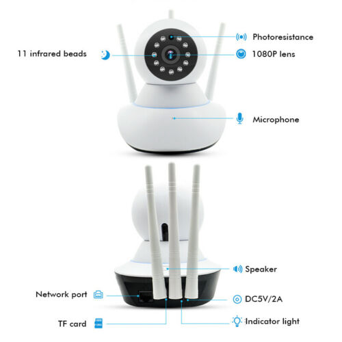 1080P Wireless WIFI IP Camera Indoor Home Security CCTV Cam Video Surveillance
