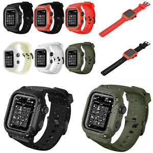 new style 7a4d2 18efb Silicone Waterproof Case Cover Wristwatch Strap For Apple Watch 4 3 ...