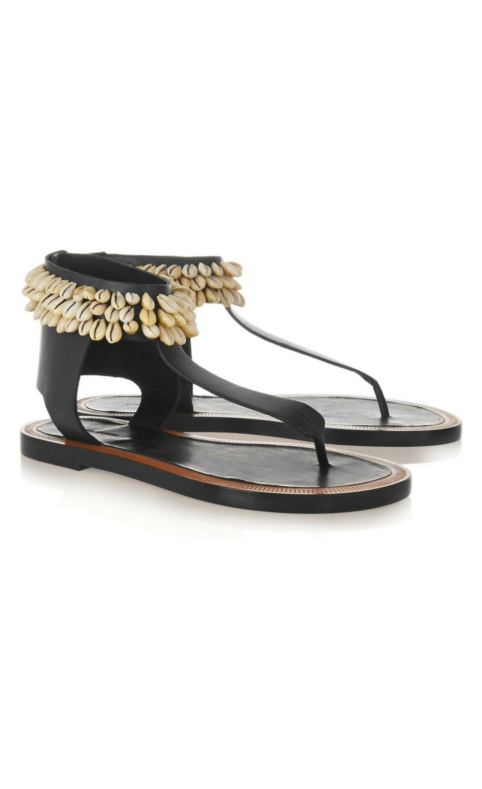 1165 NEW Isabel Marant Jean Shell-Embellished Leather Sandals Black sz 36   5.5