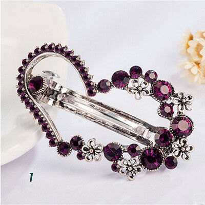 New Women Fashion Jewelry Crystal Rhinestone Hair Barrette Clip Hairpin