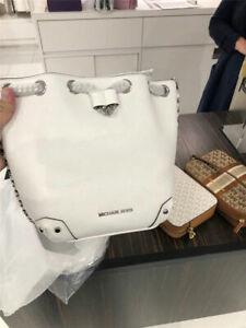NWT-Micheal-Kors-30T9SNJM2L-Alanis-Medium-Bucket-Bag-Leather-Optic-White