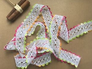 Eyelet-Knitting-in-Lace-NEW-Ombre-Shades-Trim-Knit-Sew-Crochet