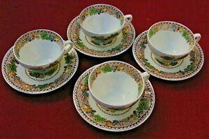 Woods Burslem England Hyde 4 thé tasses et soucoupes.-afficher le titre d`origine eNGRZnXP-09090459-612194080