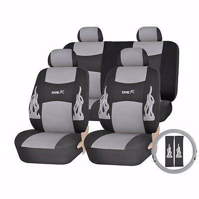GRAY AND BLACK FLAMES COMPLETE SEAT COVERS 13PC SET for DODGE 1500 2500