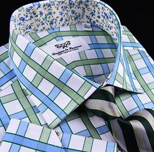 Green-Blue-Checkered-Herringbone-Formal-Business-Dress-Shirt-Luxury-Sexy-Floral