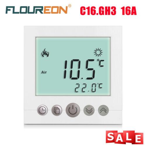 C09.H3 16A Digital Thermostat Programming Raumthermostat LCD Touchscreen Weiß EU