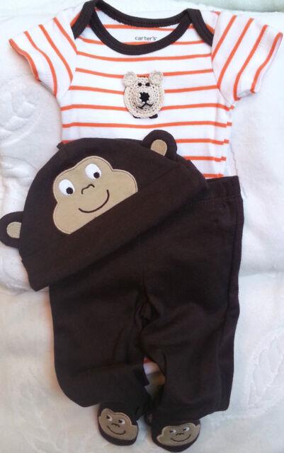 NEW SET OUTFIT BROWN MONKEY BODYSUIT HAT PANTS BOYS BABY INFANT NEWBORN 9 MONTHS