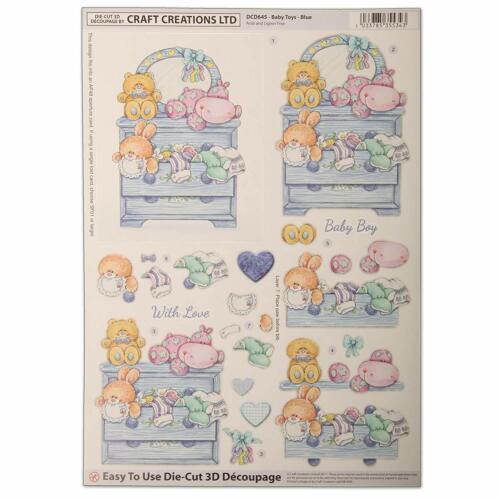 A4 Hermosa Die Cut Decoupage Ideal Para Manualidades-Juguetes de Bebé Azul