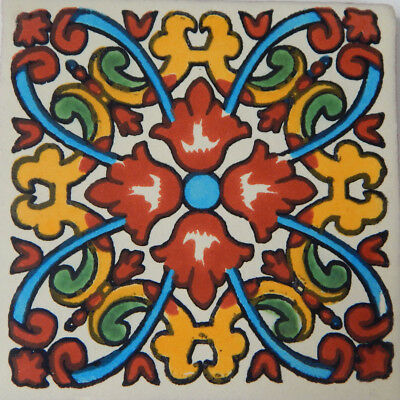 "C116 Mexican Handmade Talavera Clay Tile Folk Art 4x4/""  Handpainted"