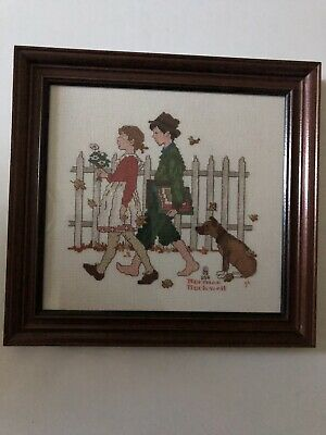 Handmade Vintage Cross Stitch Norman Rockwell Framed