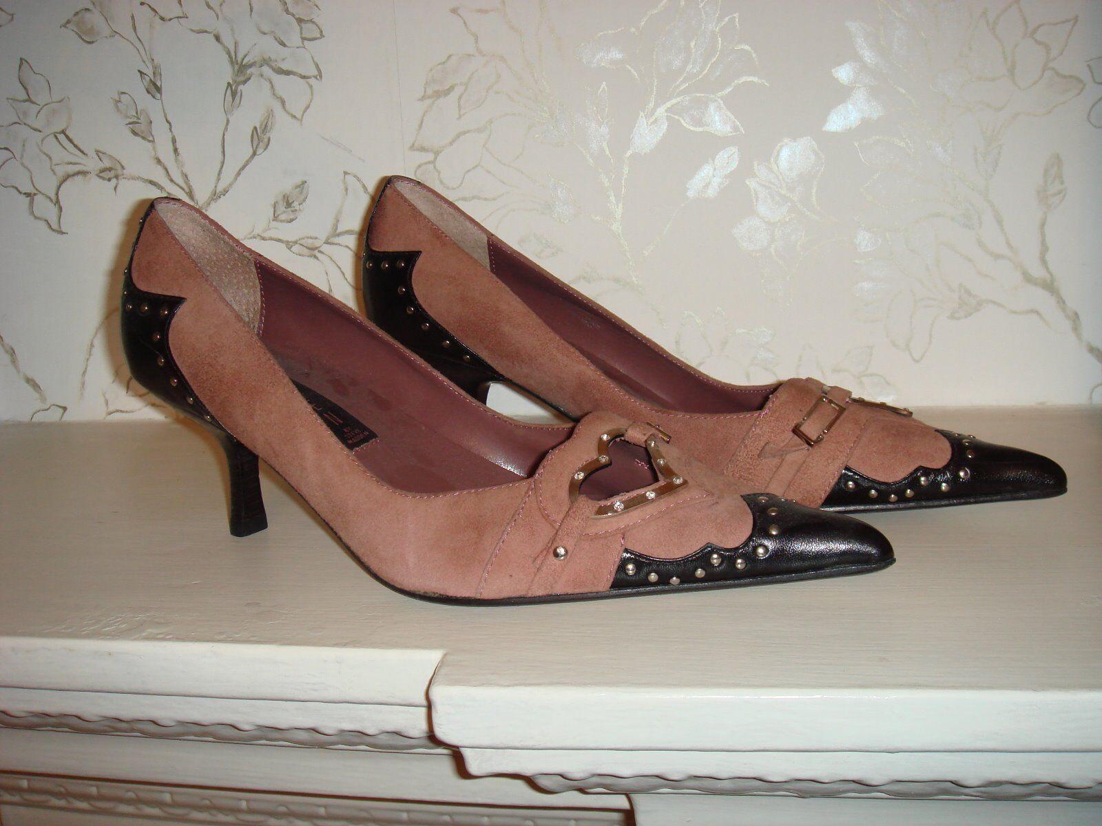 Zapatos De Cuero Steve Madden Steven rosado Suede Negro Negro Negro Corazón Diseño de nosotros tamaño 7 medio  diseñador en linea