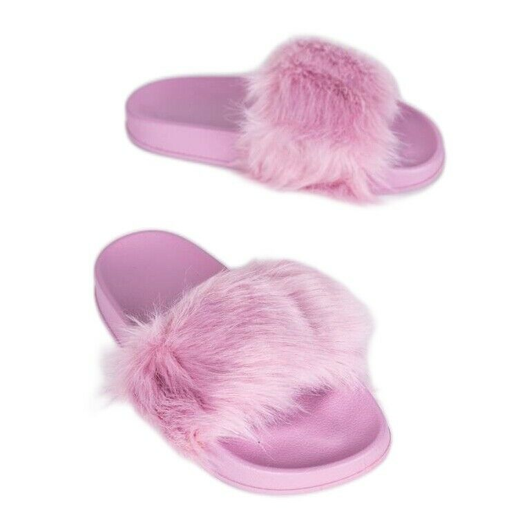 * producent niezdefiniowany Chaussons violet clair avec fourrure Candy rose