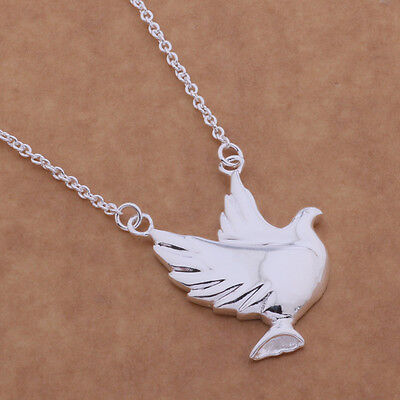 Vintage Silver Plated Dove Bird of Peace Pendant  925 Necklace Chain 18 Inch UK