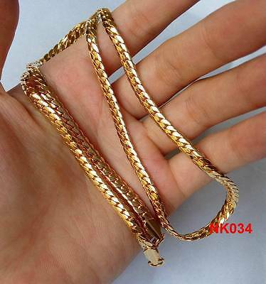 """New 1pc FL 18K Yellow Gold Plated 4mm Cuban Men's Link Chain Necklace 22"""""""