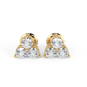 5720b7b01d73d 0.40 Ct 3 Round Diamond Stud Earrings, 18k Yellow Gold UK Hallmarked ...