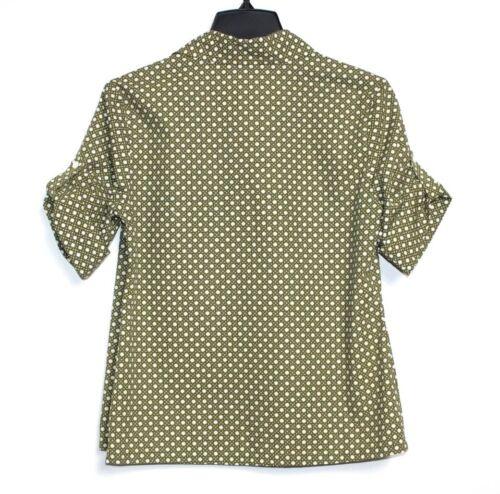Gitter Bluse s Talbots S S Hemd Nwot Armeegrün Geometrisch 6 wOI8qOU