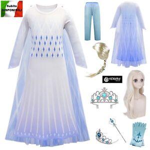 Frozen-2-pz-Vestito-Carnevale-Elsa-Bianco-White-Simil-Elsa-Costume-Dress-FROZ036