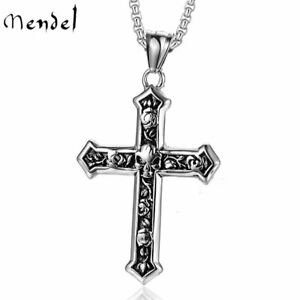 Mens Biker Catholic Cross Pendant Necklace For Men Ashes Stainless Steel Jewelry