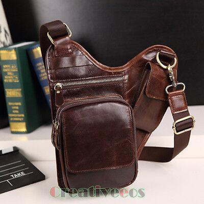 Men Genuine Leather Cross Body Messenger Shoulder Fanny Pack Waist Thigh Leg Bag