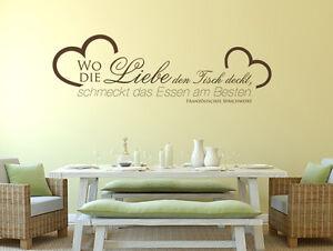 Wandtattoo Küchen Sprüche Wo die Liebe den Tisch deckt, schmeckt das ...