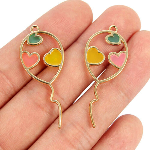 10pcs Sweet Golden Balloon Love Heart Pattern Charms Pendant For Jewelry Making