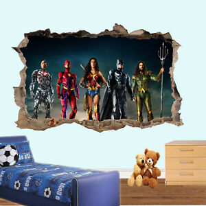 Super Heroes Justice League Wall Sticker 3d Art Mural Room Office Shop Decor Ty5 Ebay