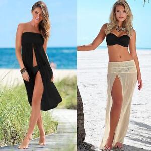 Womens Bikini Swimwear Cover Up Beach Dress Mesh Hollow Out Crochet