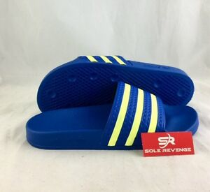 86413a5f436f67 New Adidas ADILETTE Slides Sandals Mens Blue Yellow Beach Flip Flops ...