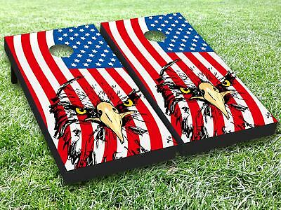 Police American Flag Vinyl Cornhole Toss Game Board Wraps Sticker Decal Set SUP