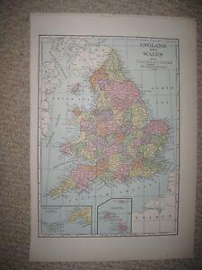 Lands End England Map.Superb Antique 1930 England Wales Channel Scilly Islands Lands End