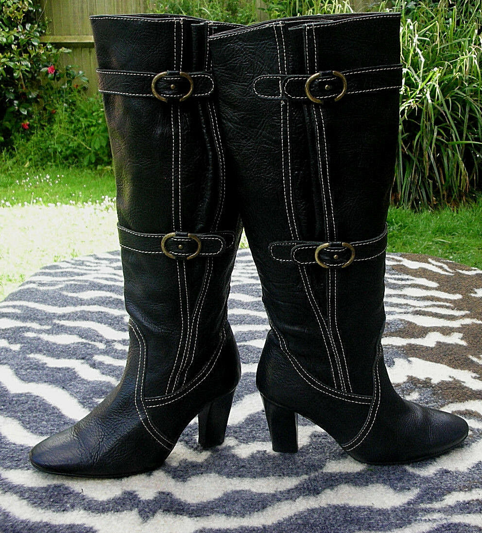 Pedro Miralles cuir noir noir noir bottes hautes Taille UK 3 EU 36 3216b6