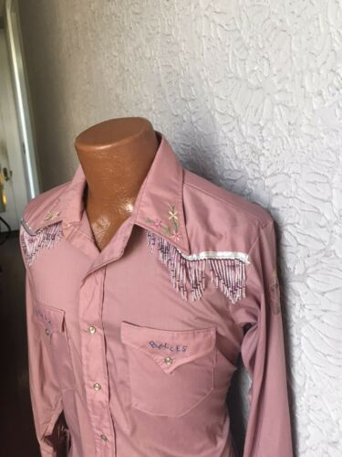 70's Vintage Men's Beaded Embroidered Western Shir
